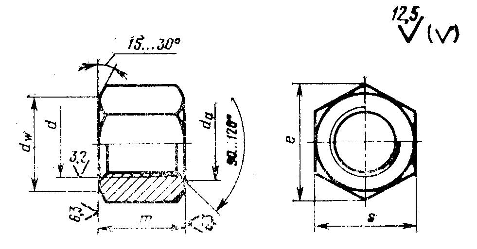 Гайка ГОСТ 5931-70 шестигранная особо высокая класс точности А